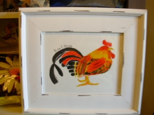 Watercolour painting of Rooster - showing at Station Arts, fall 2014